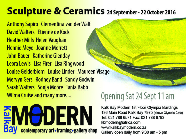 Sculpture & Ceramics at Kalk Bay Modern 24 Sept – 22 Oct 2016