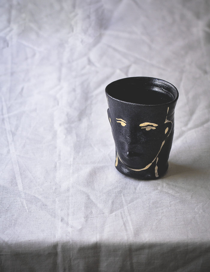 Black and Gold Face Cup