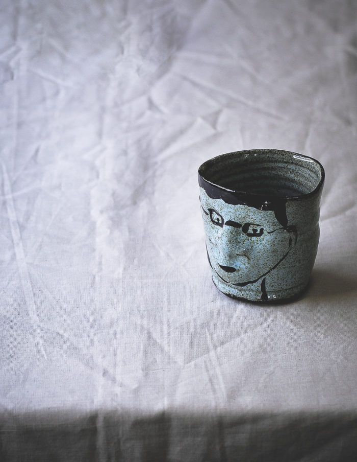 Ceramic Light Blue Face Cup