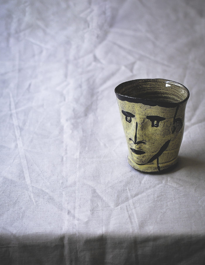 Ceramic Light Yellow Face Cup