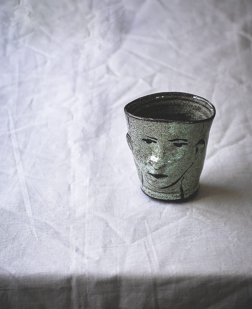 Ceramic Mint Green Face Cup