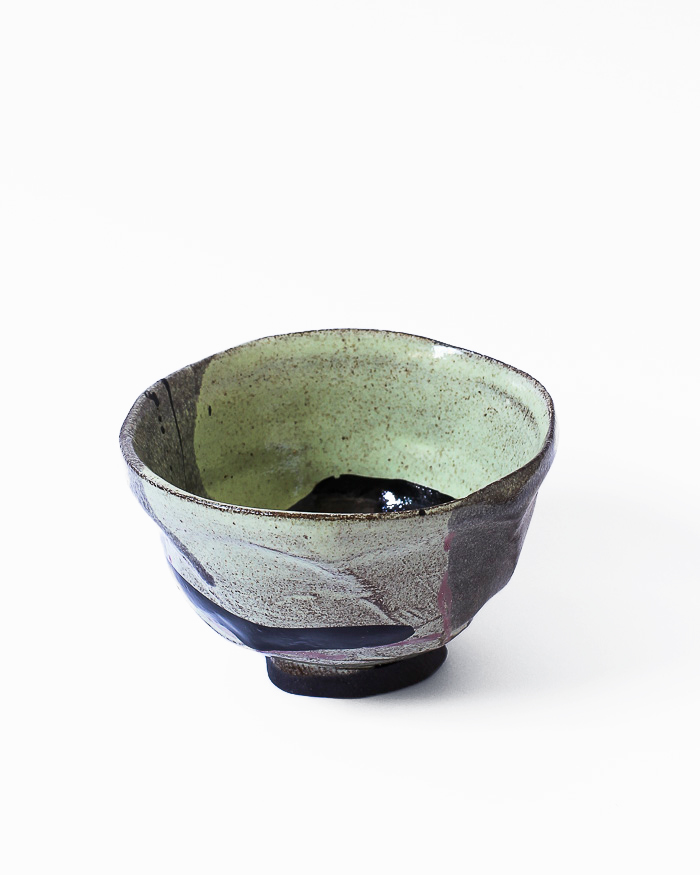 Black and Lime Abstract Expressionist Tea Bowl Back View