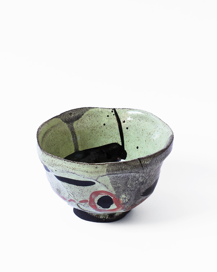 Black and Lime Abstract Expressionist Tea Bowl Front View
