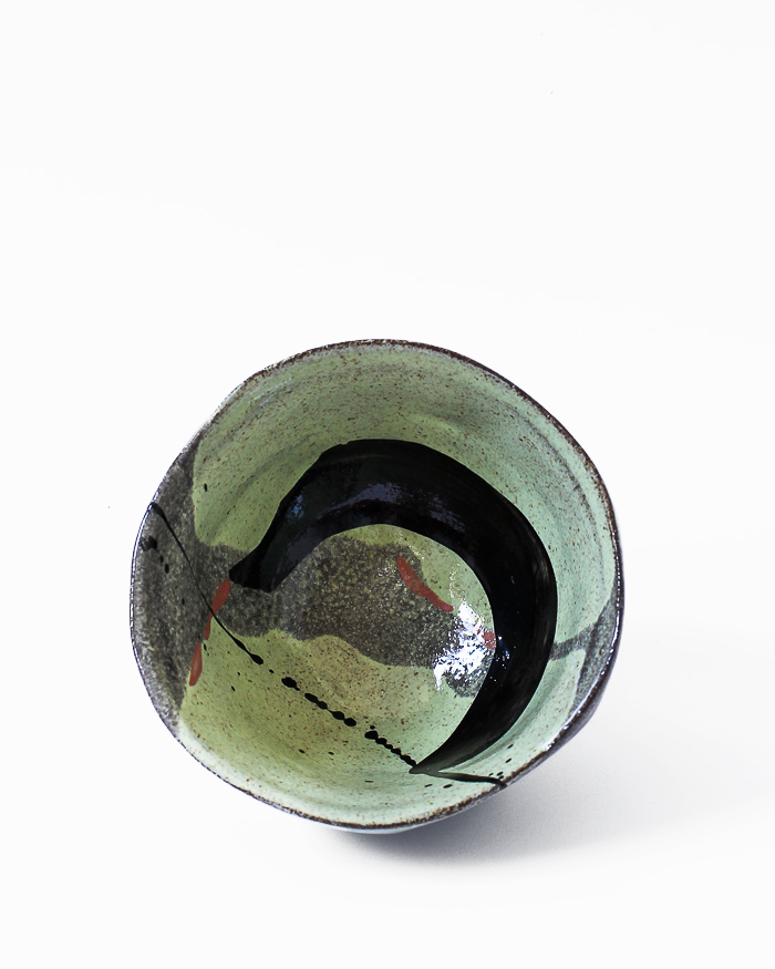 Black and Lime Abstract Expressionist Tea Bowl Inside Bowl