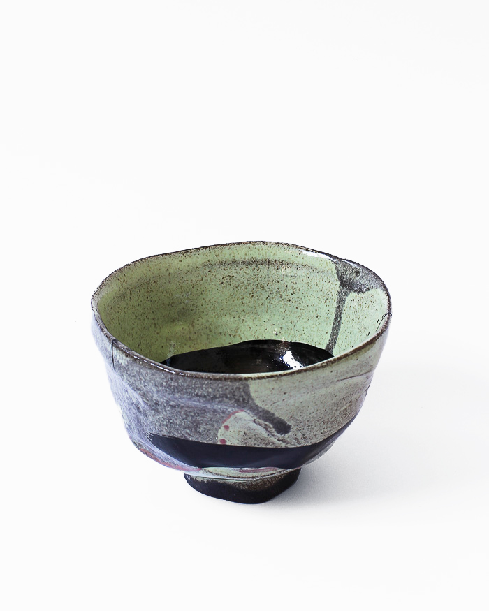 Black and Lime Abstract Expressionist Tea Bowl Left View