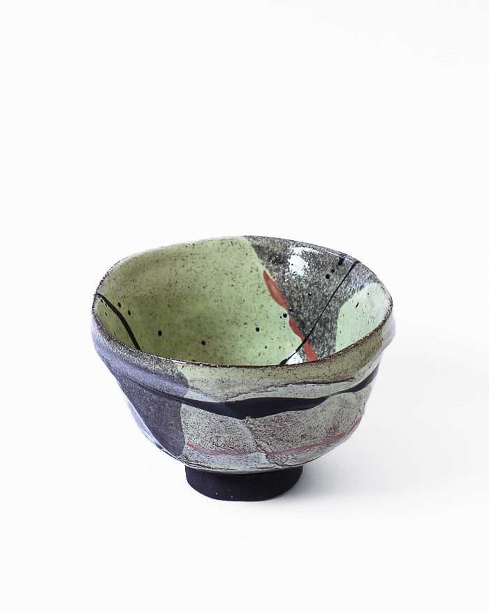 Black and Lime Abstract Expressionist Tea Bowl Right View