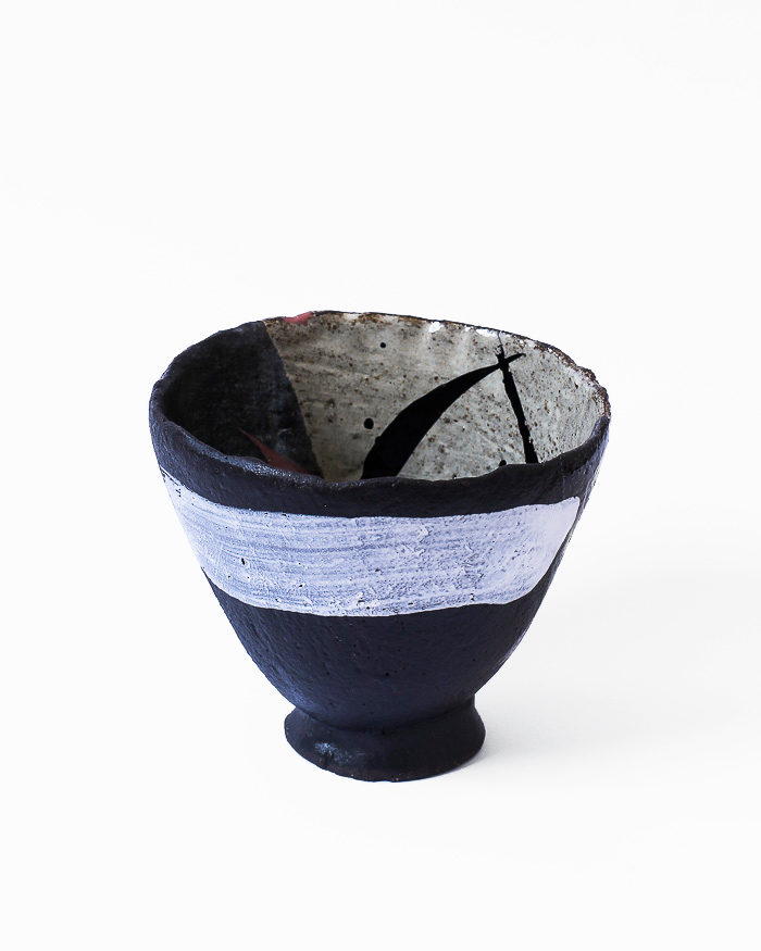 Black and Seasand Abstract Expressionist Tea Bowl Back View