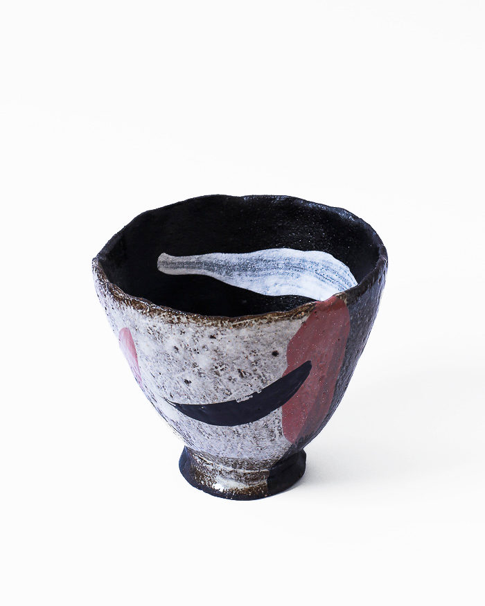 Black and Seasand Abstract Expressionist Tea Bowl Front View