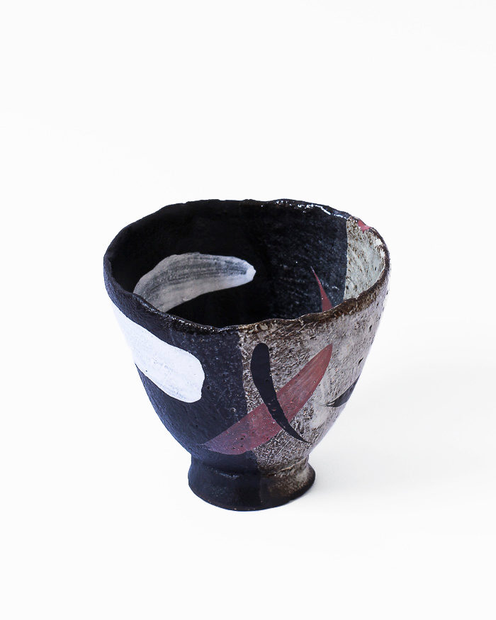 Black and Seasand Abstract Expressionist Tea Bowl Right View