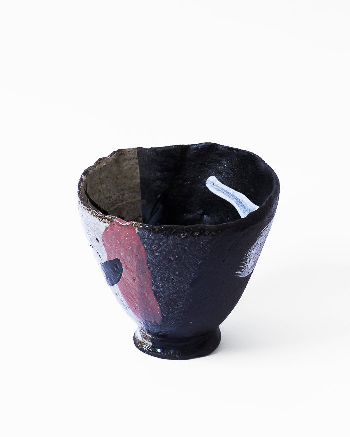 Denim Black and Seasand Abstract Expressionist Tea Bowl Left View