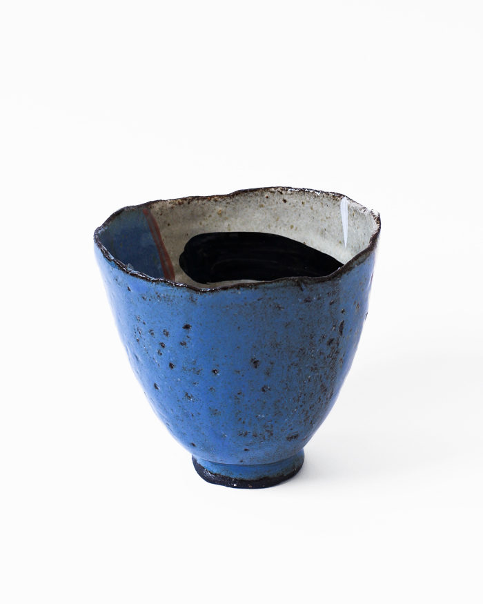 Denim Blue and Seasand Tea Bowl Back View
