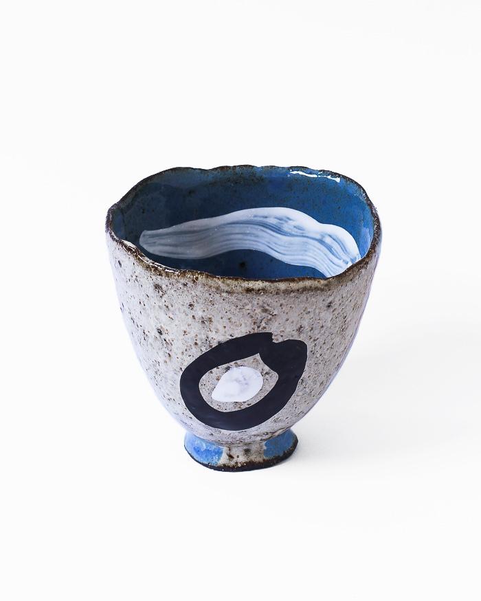 Denim Blue and Seasand Tea Bowl Front View