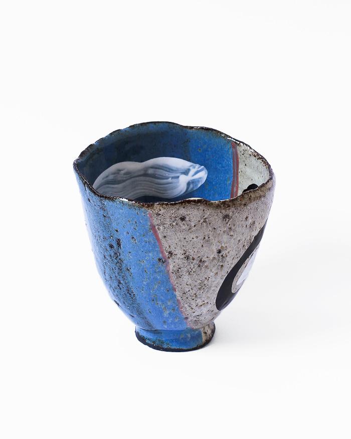 Denim Blue and Seasand Tea Bowl Right View
