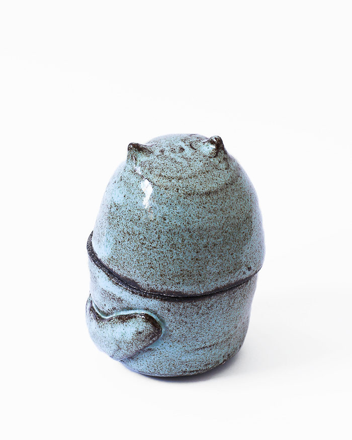 Light Blue Cat Jar Back View