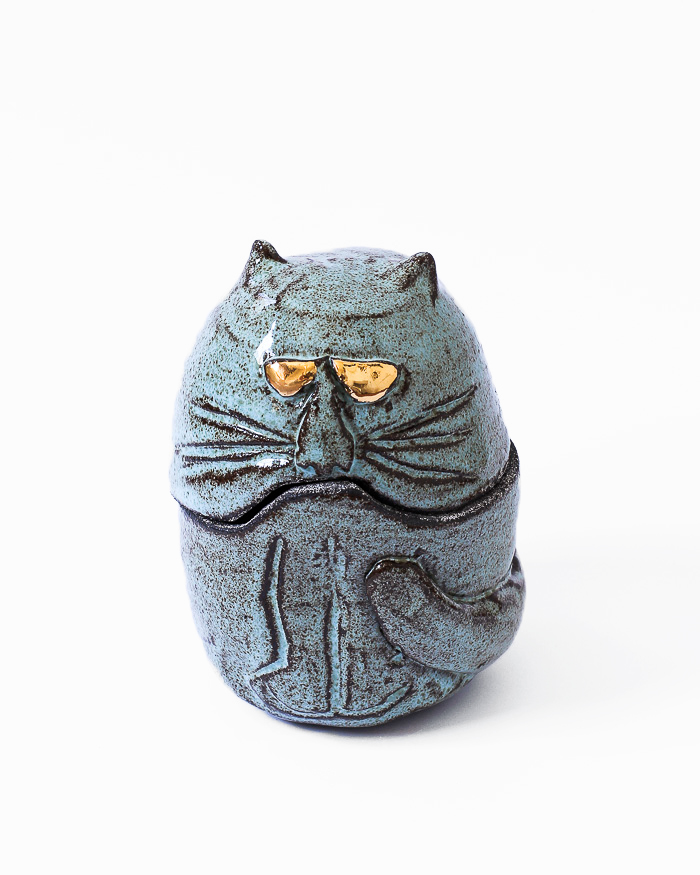 Light Blue Cat Jar Front View