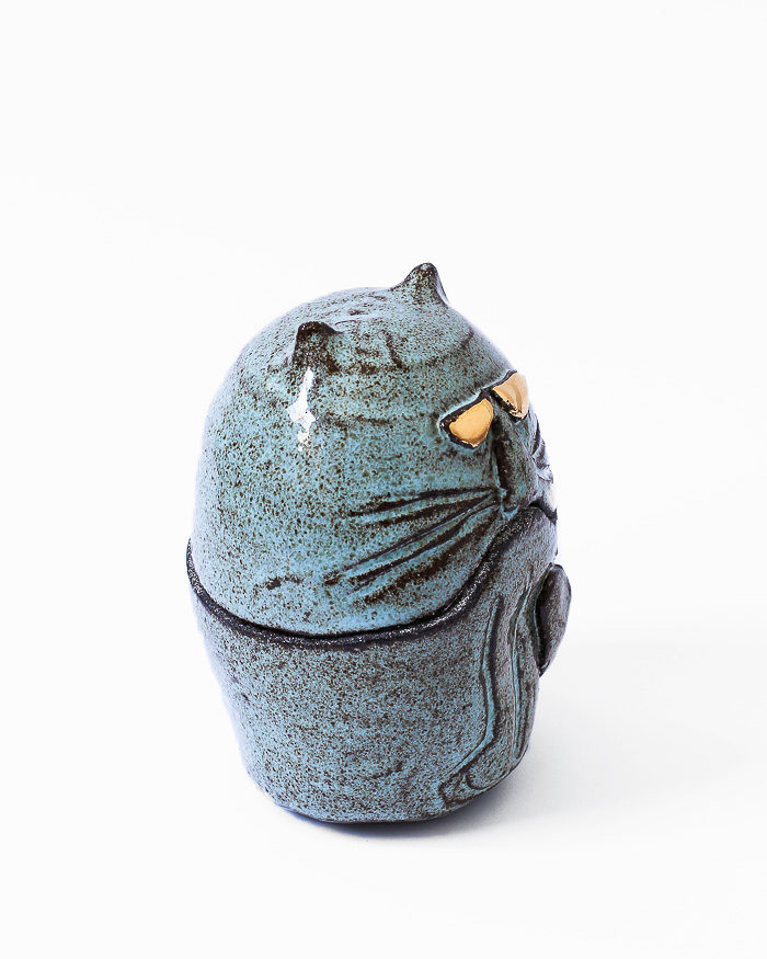 Light Blue Cat Jar Right View