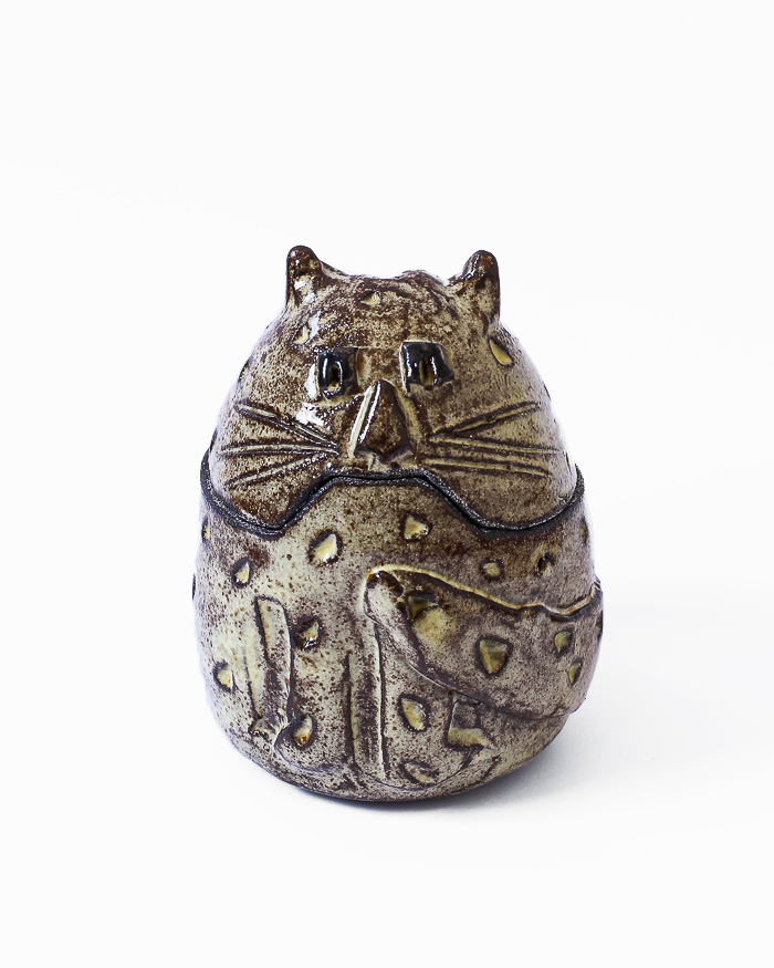 Light Yellow Cat Jar Front View