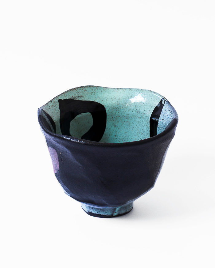 Mint Abstract Expressionist Tea Bowl Back View
