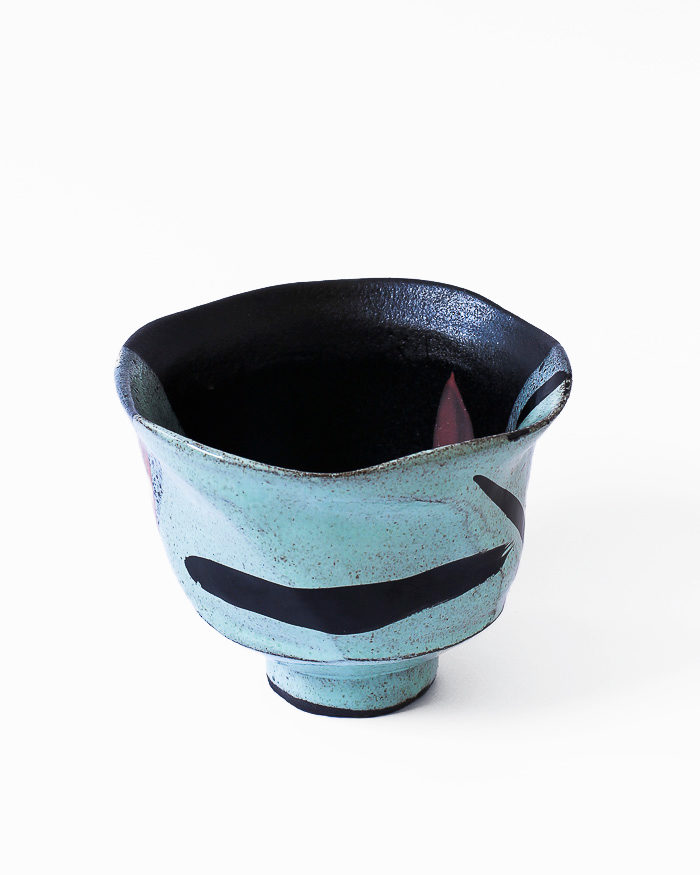 Mint Abstract Expressionist Tea Bowl Front View
