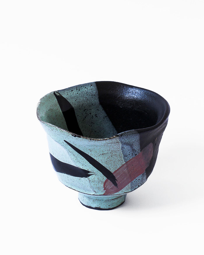 Mint Abstract Expressionist Tea Bowl Left Side View