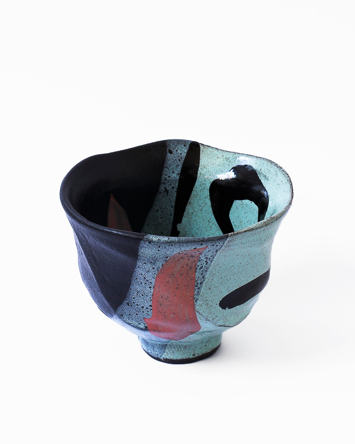 Mint Abstract Expressionist Tea Bowl Right View