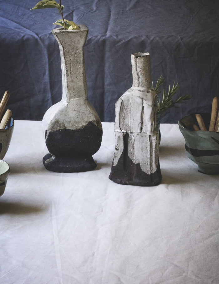 A ceramic art installation on dinner table