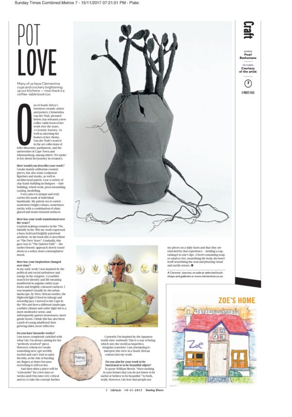 Clementina Ceramics feature in Sunday Times 19 November 2017