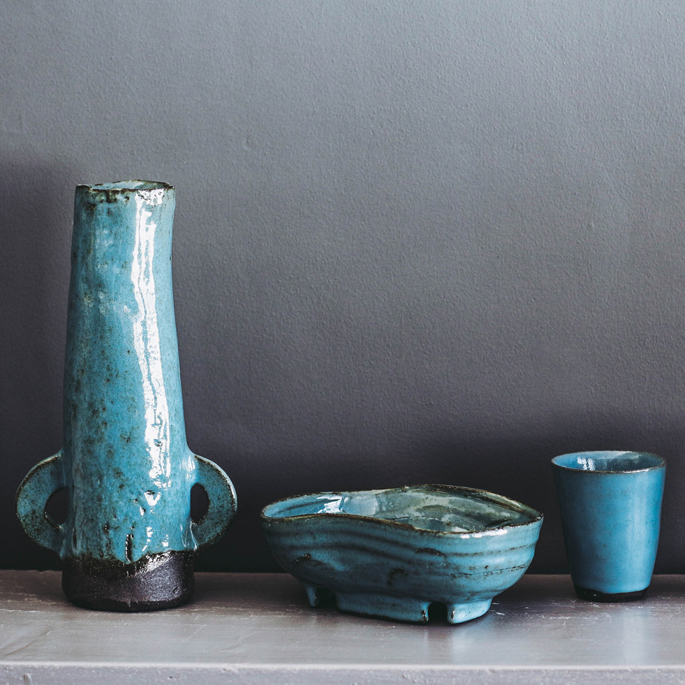 Sky blue ceramic vessels and cup by Clementina Ceramics