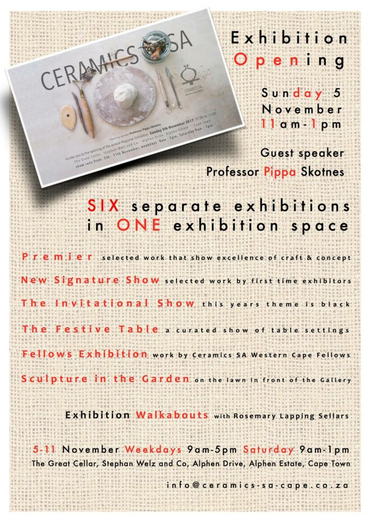 Ceramics SA Exhibition Invitation
