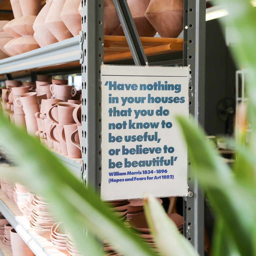 William Morris quote in Clementina Ceramics Studio