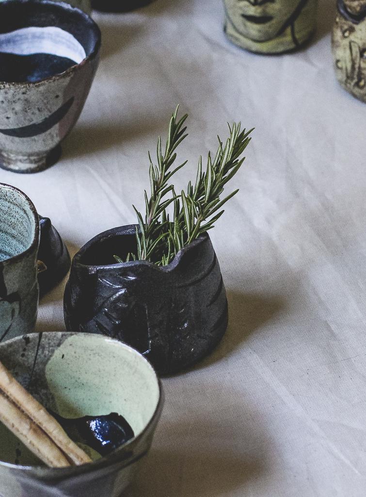 A ceramic art installation on dinner table