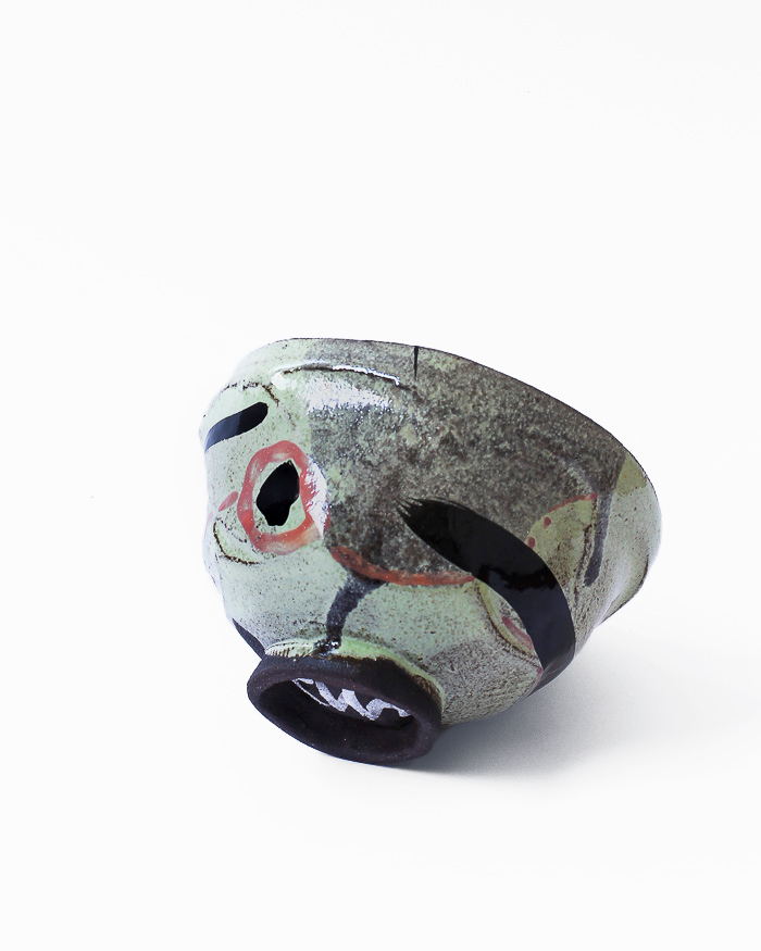 Black and Lime Abstract Expressionist Tea Bowl Side View