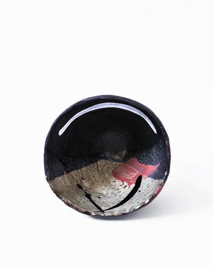 Black and Seasand Abstract Expressionist Tea Bowl Inside View