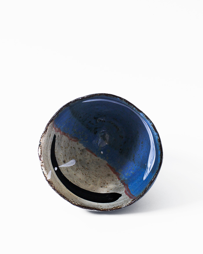 Denim Blue and Seasand Tea Bowl Inside View