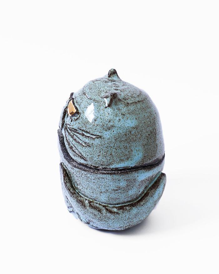 Light Blue Cat Jar Left Side