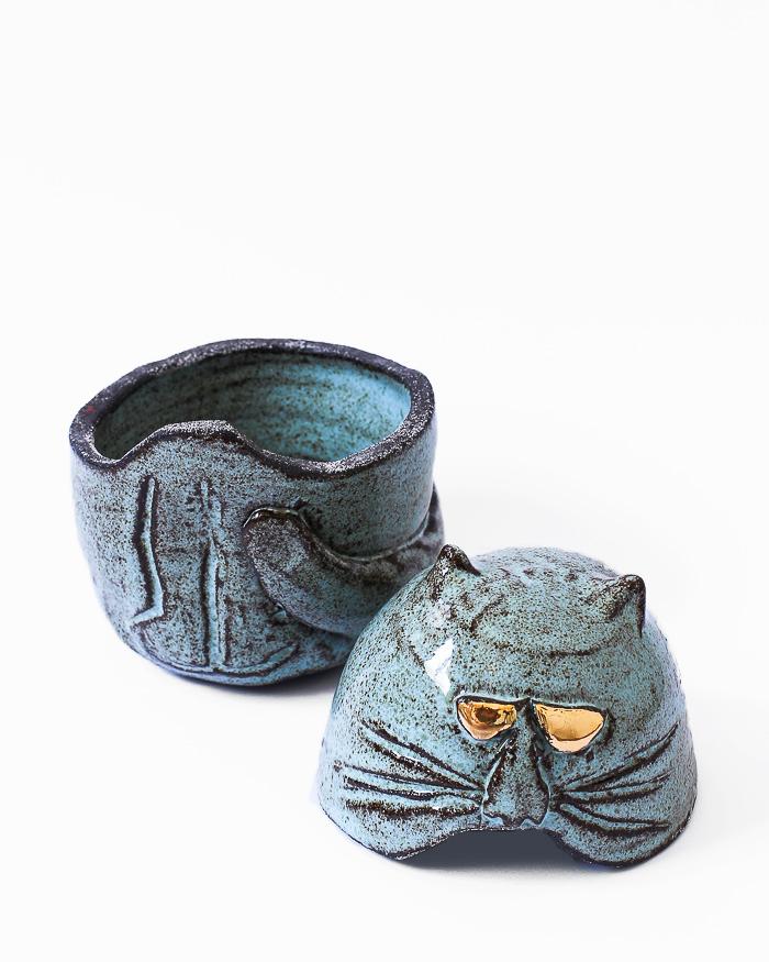 Light Blue Cat Jar Open View