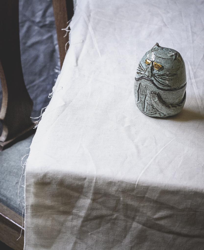 Ceramic Light Blue Cat